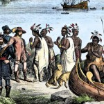 Henry Hudson meeting with Native Americans along the Hudson River, 1609. Hand-colored woodcut of a 19th-century illustration