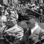 Adolf Hitler and Benito Mussolini in Munich, Germany, ca. June 1940.